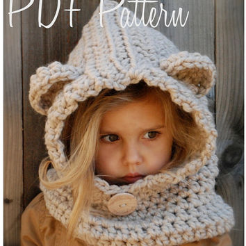 Crochet PATTERN-The Baylie Bear Cowl (12/18 month,Toddler, Child, Adult sizes)