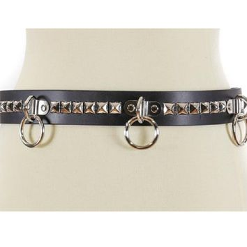 "Silver 1-Row Pyramid Stud w/ O-rings & D-rings Black Leather Belt 1-3/4"" Wide"