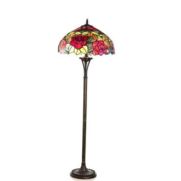 "Peggy, Tiffany-Style 2 Light Roses Floor Lamp 18"" Shade"