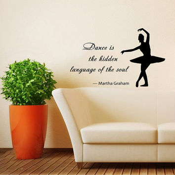 Quote About Dance Life Ballet with Dancer Ballerina Vinyl Decal Home Wall Decor Dance School Studio Stylish Sticker Unique Design Room V513