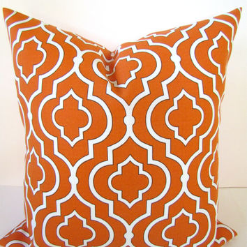 Throw Pillows 18x18 ORANGE Throw Pillow  18 x 18 Outdoor Pillow Covers Orange Indoor/Outdoor Coral Home and Living