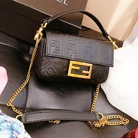 Fendi Women New Fashion More Letter Leisure Leather Shoulder Bag