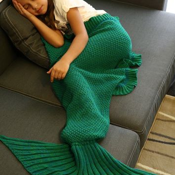 Creative Flounced Design Knitted Mermaid Tail Blanket
