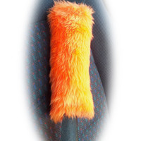 1 single Fuzzy faux fur Orange shoulder strap pad / guitar / car / bag furry and fluffy