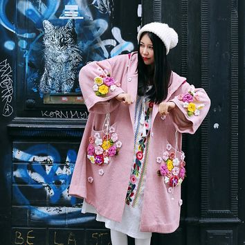 MX]Autumn Spring Women Novelty Oversized Witch Hooded Trench Cute Crocheted Flowers Loose Pink Knitted Long Coat