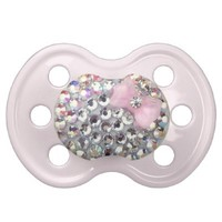 Crystal Rhinestone With Classy Bow Pacifier