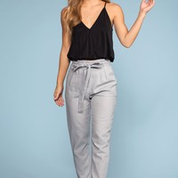 Evening Breeze Paperbag High Waisted Pants - Silver