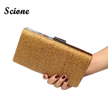 6 Colors New 2017 Straw Women Wedding Bag Fashion Knitting Evening Bags Wedding Party Purse Bride Clutches Chains Handbags Purse