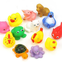 13pcs Set Baby Bath Toys Yellow Rubber Duck Kids Water Toys Squeeze-sounding Dabbling Toys For Children
