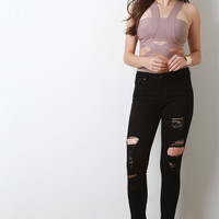 Classic 5-Pocket Design Distressed Skinny Jeans