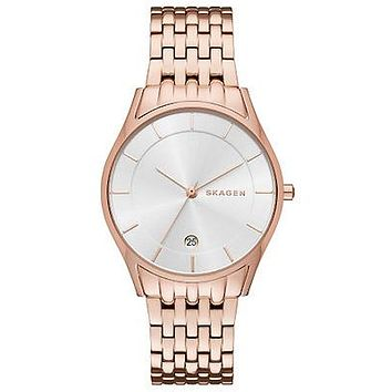 Skagen Womens Holst Date Watch - Rose Gold-Tone - Date - Link Bracelet