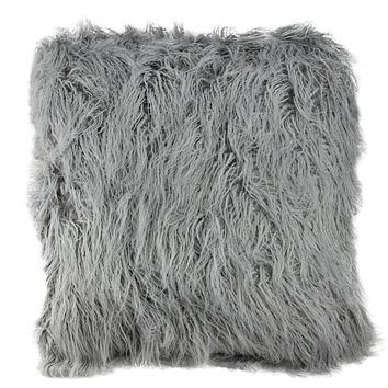 "18"" Extravagant Cloud Gray Faux Fur Super Soft Decorative Throw Pillow"