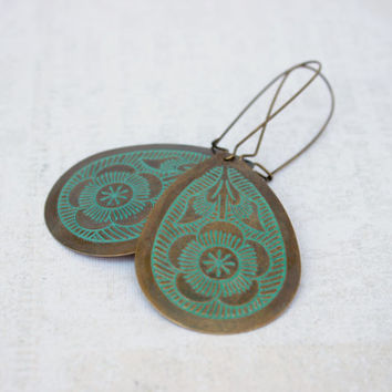 Antiqued Gold and Green Verdigris Teardrop Dangle Earrings on Kidney Earwires - Long Earrings - Boho Jewelry - Ready to Ship