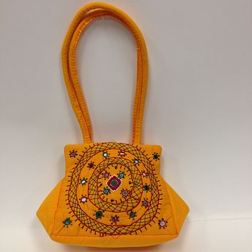 BD-Handcrafted Embroidery Small Handbag - Black, Yellow