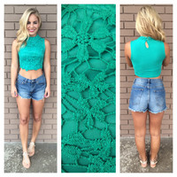 Green Luck Of The Irish Crochet Crop Top