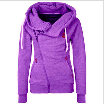 Personality sweater cardigan Side zipper hooded fleece jacket Purple
