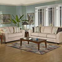 Viewpoint Tan sofa and loveseat by Serta Upholstery