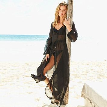 NODELAY 2018 Summer Chiffon Cover Up Long Sleeve Button Kaftan Beach Tunic Dress Women Bikini Pareo Cover Up Swimsuit Sexy Robe