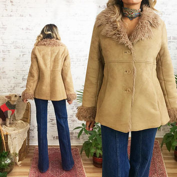 Vintage Faux SHEARLING VEGAN Shaggy Fur Coat || Boho Faux Fur Hippie Coat || Size Small Medium
