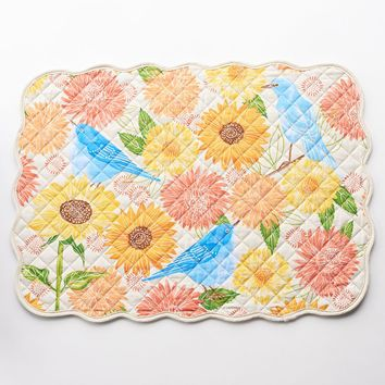 Harvest Bird & Floral Reversible Quilted Placemat