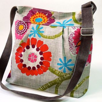 MIMOSA GRAY spring with red pink flower 8 pockets // by ikabags