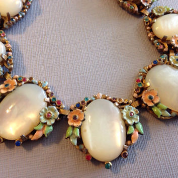 Antique Floral Enamel Necklace White Givre Glass Stones