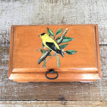 Wood Box Bird Wooden Box Hand Made Wooden Box with Hinged Lid Vintage Trinket Box Folk Art Wooden Box Jewelry Box Cottage Chic