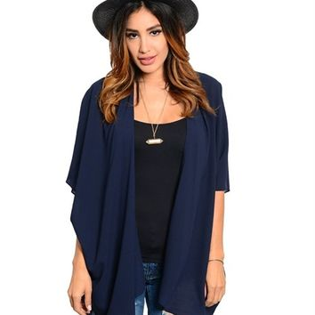 Navy Blue Chiffon Long Duster Kimono from Threadflip