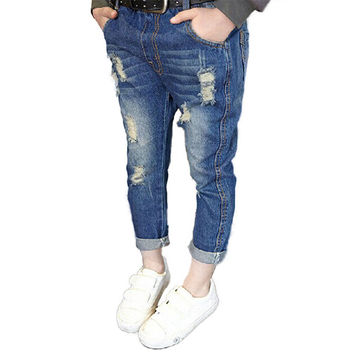 Fashion Kids Baby Girl Ripped Jeans Blue Casual Denim Long Pencil Retro Pants 2-7Y NW