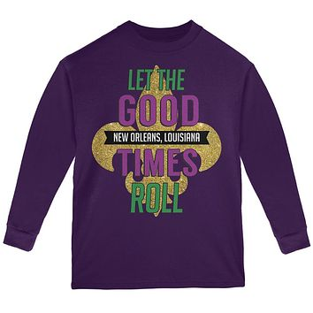 Mardi Gras Let the Good Times Roll Youth Long Sleeve T Shirt