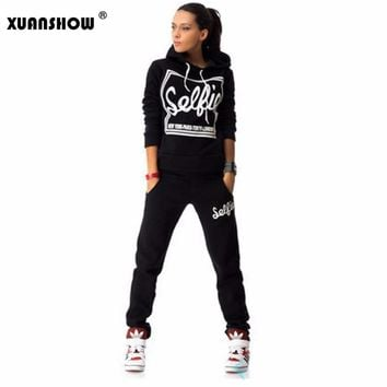 XUANSHOW Woman Tracksuit Clothing Hoodies Set Letter Print Sportwear Suit Women 2 Piece Set Costumes Sweatshirt+Pants Sudaderas