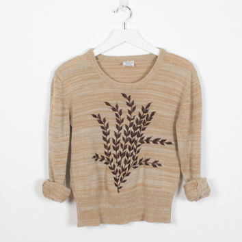 Vintage 70s Sweater Tan Brown Space Dye Knit Floral Leaf Embroidered 1970s Sweater V Neck Hippie Sweater Boho Pullover Knit Top XS S Small M