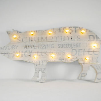 Pig Sign Butcher Shop Pallet Wood Marquee Pig Kitchen Decor