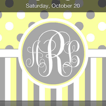 Yellow, Gray, and White Polka Dots and Stripe iPhone Monogram Wallpaper