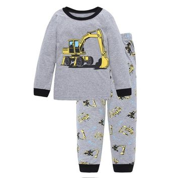 Tractor Print Gray Cotton Pajamas
