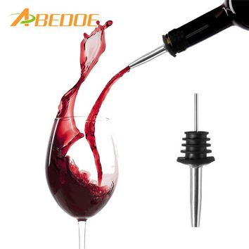 ABEDOE 1pc Liquor Red Wine Pourers Spouts Free Flow Wine Bottle Pour Spout Stopper Barware Stainless Steel Bar Supplies