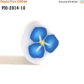 On Sale Raw Polymer Clay Flower Cane Blue and Yellow Handmade Fimo