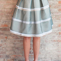 SeaMist Metallic Midi Skirt