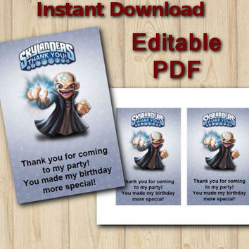 Skylanders Thank You Card Editable Instant Download Customizable  birthday party printable file DIY
