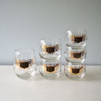 Vintage VIP Roly Poly Glasses, Gold and Black Drinking Glassware, Midcentury Barware, 1960s Instant Collection