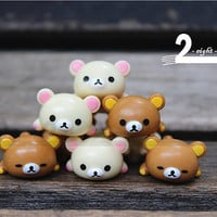 2 pcs / Lovely Bear / Decoden / Supplies / DIY / Relax / Accessories / Craft / Lazy bone / Gift / 1.5cm / ESC062