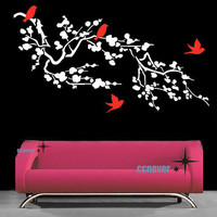 Blossom Branch flying birds 48inch WRemovable Graphic by ccnever