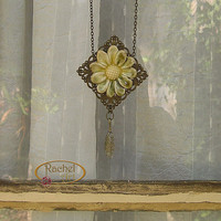 Flower Ceramic Pendant, Handmade Antique Look Flower Ceramic Pendant, Green Flower, Dangling