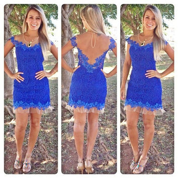 blue lace dress cute short sleeve vestidos = 1876625412