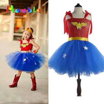 Girls Costumes 2017 New Arrival Christmas Cosplay Baby Wonder Woman Costume Superhero Costumes Superwomen Costumes For Girls Christmas Dress Ture 100% Guarantee