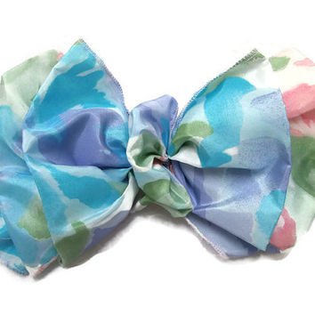 Hair Barrette Clip Bow Handmade Pastel Colors Floral - Green, Blue, Lavender, Pink, White, Casual or Dressy