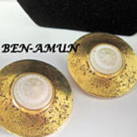 Ben-Amun Earrings, White Shell Centers, Vintage 80's Clip Ons -  Spectacular