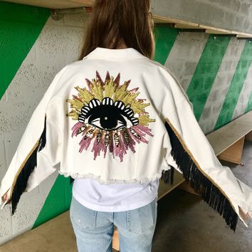NEW Protected white cropped Denim Jacket