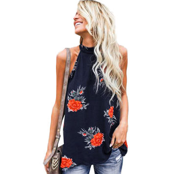 Fashion Summer Women Floral  Tops