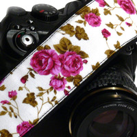 Roses dSLR Camera Strap. Black and Purple Camera Strap. Canon Camera Strap. Nikon Camera Strap. Women Accessories.